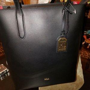 Ralph Lauren Alexis Black Tote Leather NWT $160